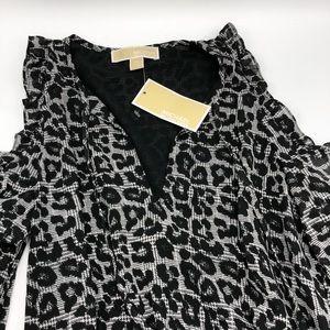 Michael Kors Black Leopard Print Peekaboo Dress